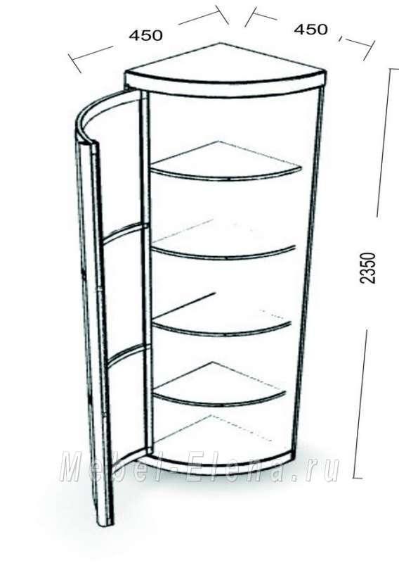 """Шкаф радиусный """"радион""""с угловым элементом,32500р,купить нед."""